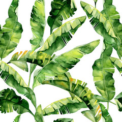 Fototapeta Inspiracje na wiosnę Seamless watercolor illustration of tropical leaves, dense jungle. Pattern with tropic summertime motif may be used as background texture, wrapping paper, textile,wallpaper design. Banana palm leaves