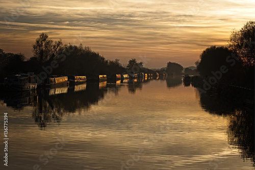 Photo  Sunset over the Gloucester and Sharpness Canal from Patch Bridge, Slimbridge, Gloucestershire, England, UK