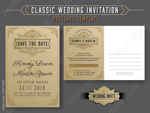 Vintage Elegant Wedding Invitation Template And Rsvp Postcard Style Vector Ilration
