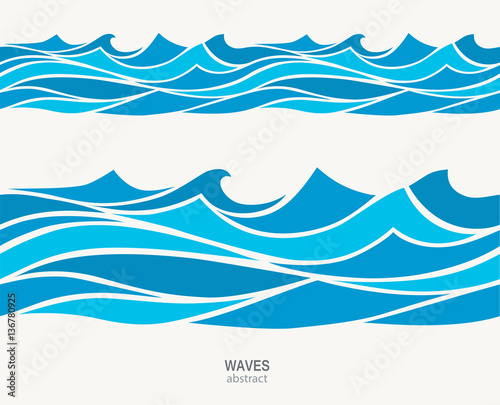 Marine seamless pattern with stylized blue waves on a light back Wall mural