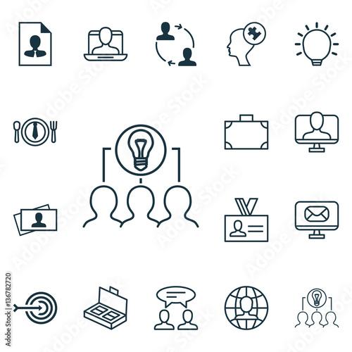 Set Of 16 Business Management Icons  Includes Portfolio