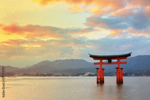 Great floating gate (O-Torii) on Miyajima island near Itsukushim
