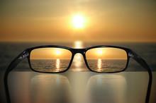 Glasses, Vision Concept, Sunset