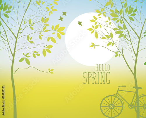 Foto op Canvas Lichtblauw spring landscape with two trees, sun and bike