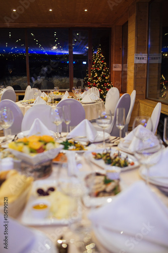 Christmas Buffet Table And Wine Glasses Catering Buy This Stock