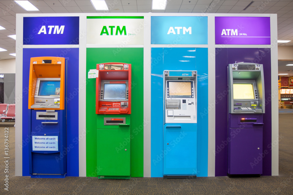 Fototapeta line of colorful ATM in the lobby