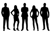 Business Men And Women Vector Silhouettes, Standing People In Fo