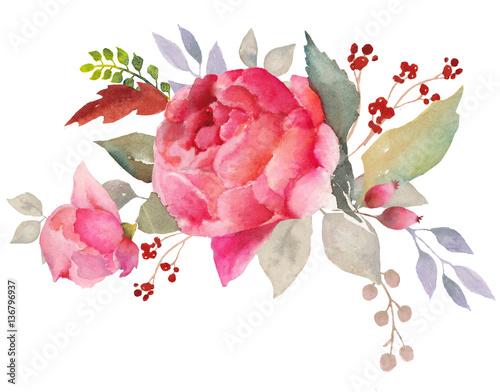 Photo  Watercolor floral composition