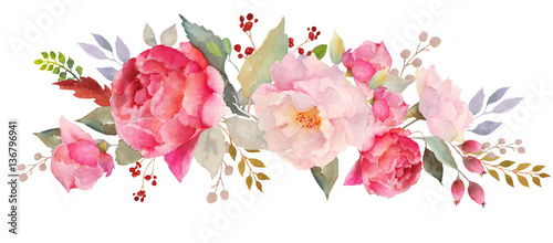 Fototapeta Watercolor floral composition obraz