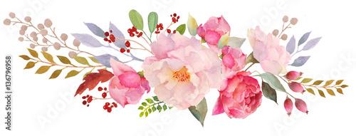 Watercolor floral composition Canvas Print