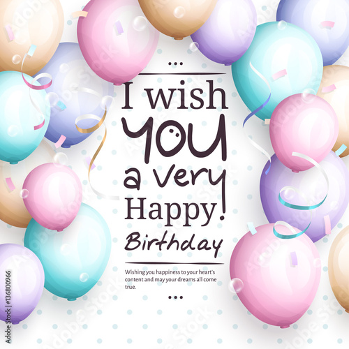 Happy Birthday Greeting Card Retro Vintage Pastel Party Balloons Streamers And Stylish Lettering