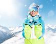 Frau im Skiurlaub
