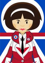 Cool Stylish Union Jack Mod Girl