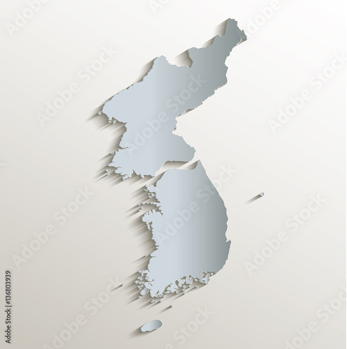 Valokuva  Korea map south north separate white blue card paper 3D vector
