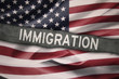 Flag of United States with Immigration word