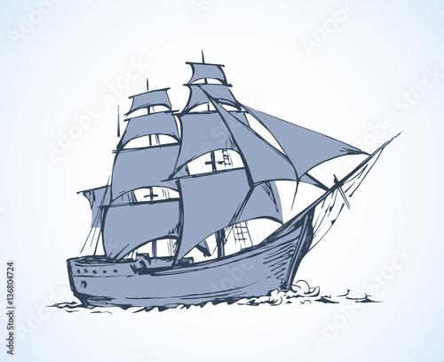 Sailing vessel. Vector drawing Wallpaper Mural
