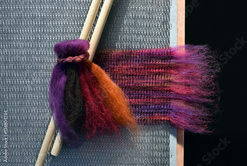 Fotografie, Obraz  This is colorful dyed wool fiber from a sheep applied to a blending board to make handmade rolags for spinning yarn