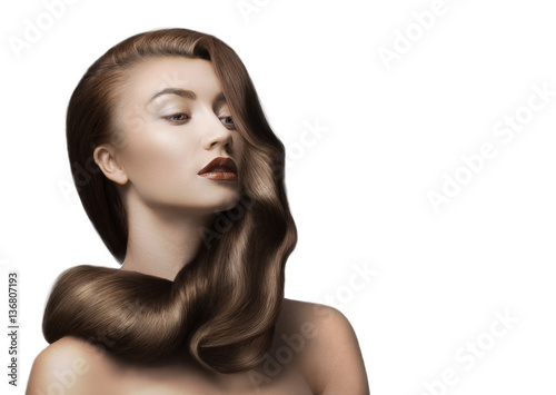 woman with beautiful brown hair on white background