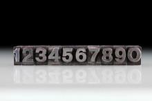 Antieke Loden Cijfers, één,twee,drie,vier,vijf,zes,zeven,acht,negen,nul