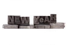 New Year, In Antieke Loden Drukletters