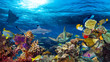 Leinwanddruck Bild colorful 16to9 underwater coral reef panorama with many fishes turtle shark and marine life