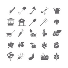 Black Icons Of Farm Equipment And Products.