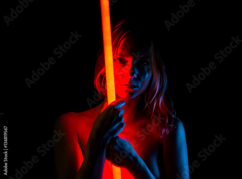 Photographie  Nude pretty woman with neon lights