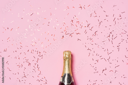 Flat lay of Celebration. Champagne bottle with colorful party st Tapéta, Fotótapéta