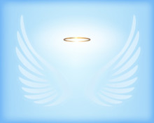 Transparent White Angel Wings With Gold Nimbus On Sky Blue Backg