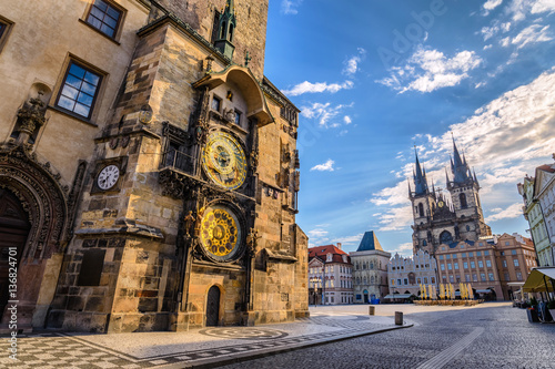 Prague old town square and Astronomical Clock Tower, Prague, Cze Wallpaper Mural