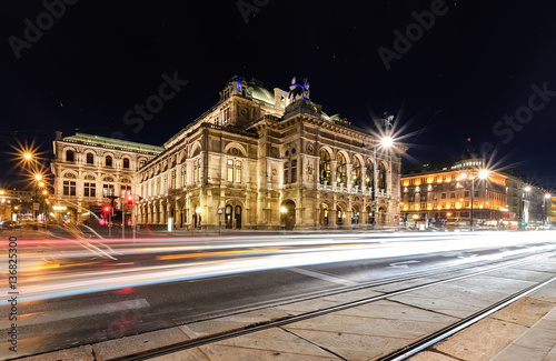 View on Vienna state opera in the evening.