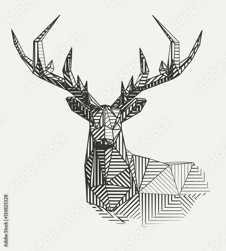 Vector low poly line art. Geometrical reindeer illustration. Fototapete