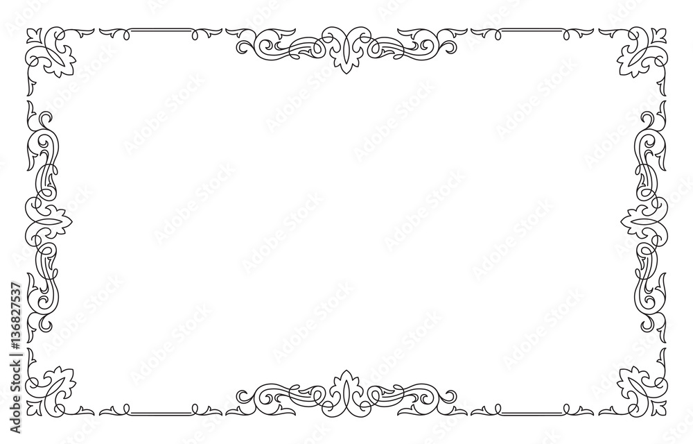 Fototapety, obrazy: Decorative black rectangular frame.