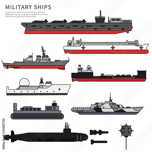 Vászonkép Military ships, warship and battleship on white
