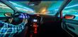 Driving in night scenery, hands on steering wheel.
