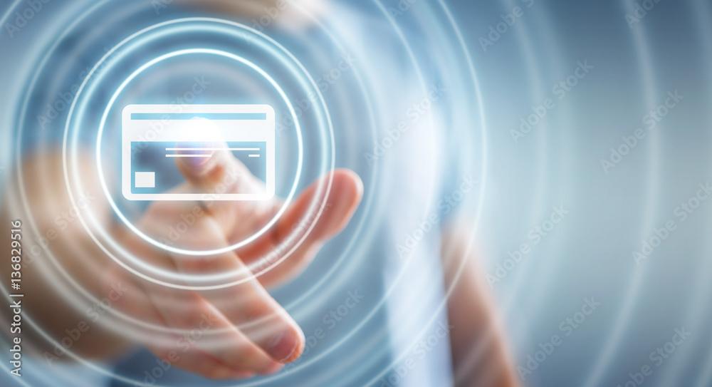 Fototapeta Businessman using digital payment interface 3D rendering