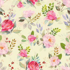 Panel Szklany Inspiracje na wiosnę Watercolor roses floral pattern