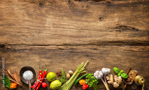 Printed kitchen splashbacks Spices Various herbs and spices