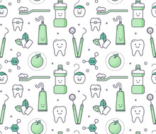 Vector Educational Seamless Pattern With Dentist Equipment On White Background. Fun Iconic Style Stomatology Tools, Teeth Care.