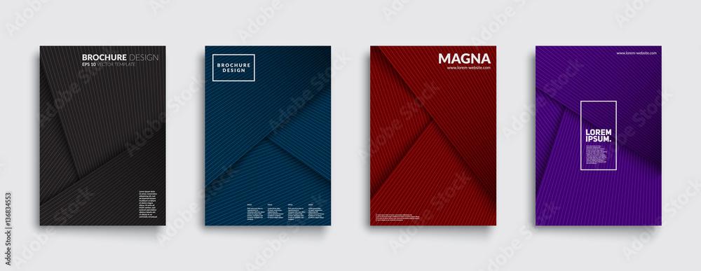 Fototapeta Futuristic covers set. Shapes overlap. Material design backgrounds. Eps10 layered vector.