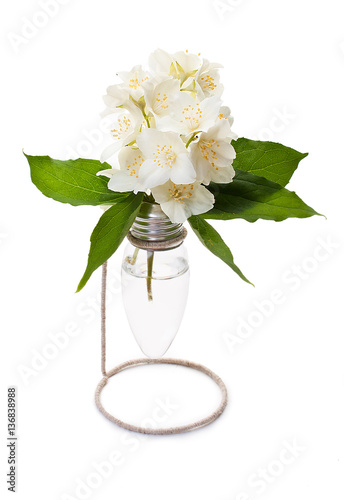 Light Bulb Vase With Jasmine Flowers On A Decorative Stand Made