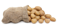Potato Tubers In A Sack Isolat...