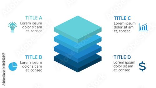 Fotografie, Obraz Vector squares 3D infographic, layers diagram chart, graph presentation