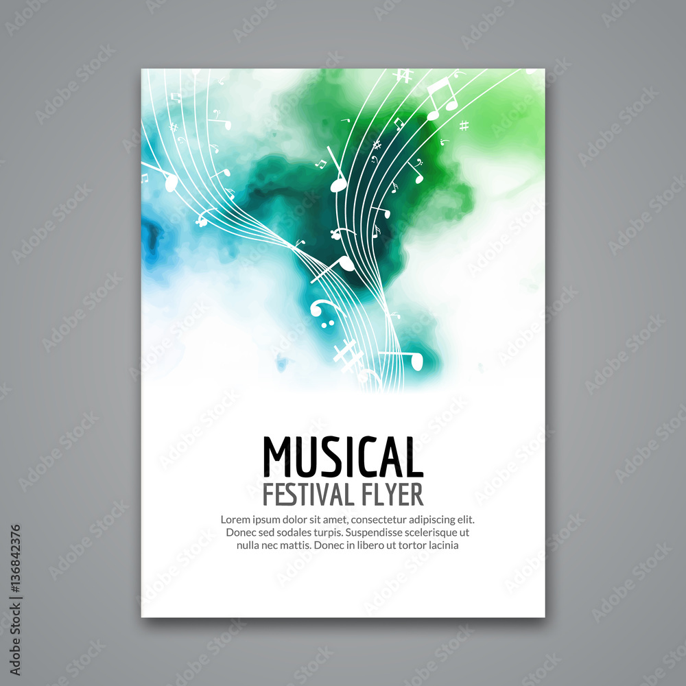 Fototapeta Colorful vector music festival concert template flyer. Musical flyer design poster with notes