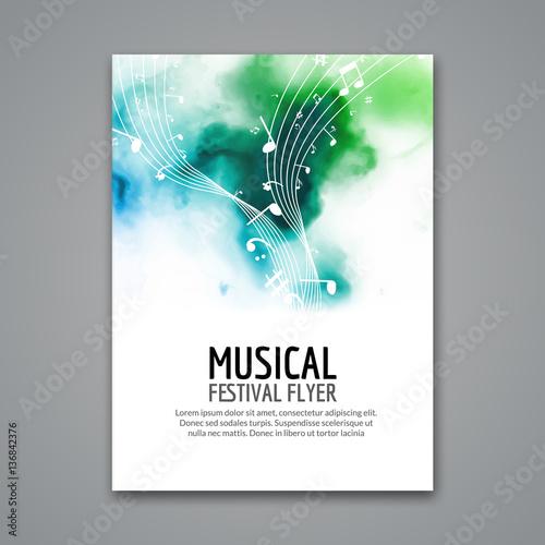 Fototapeta Colorful vector music festival concert template flyer. Musical flyer design poster with notes obraz