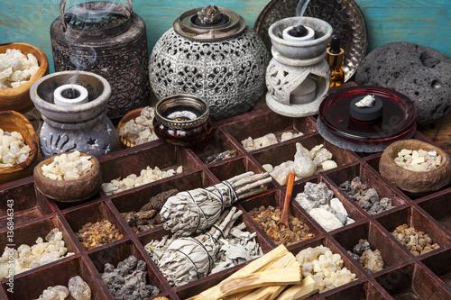 Stampa su Tela Various kinds of incense: myrrh, frankincense, messer, copaiba, elemi camonya, p