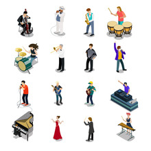 Flat Isometric Musicians Vector Icon. 3d Entertainment Concept