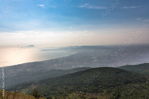 Staande foto Vulkaan Foggy view of gulf of Naples