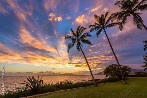 Poster Palmier Magical Hawaiian Sky at sunset from Kamaole beach one, South kihei , Maui, Hawaii