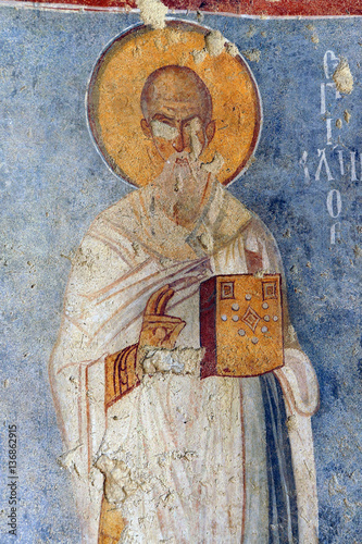 Fotografie, Obraz  Fresco of Saint Nicholas